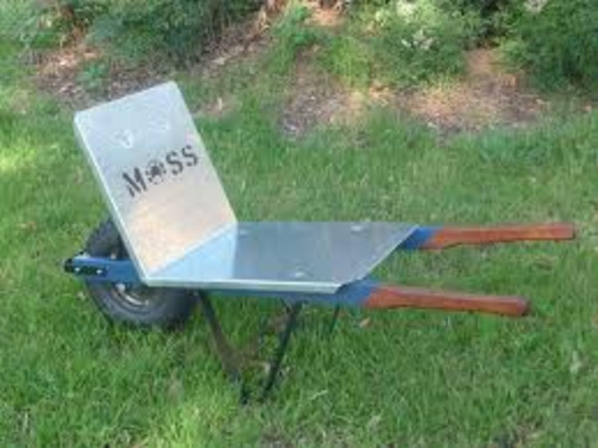 Flat wheelbarrow used mainly to carry bricks and blocks on building sites