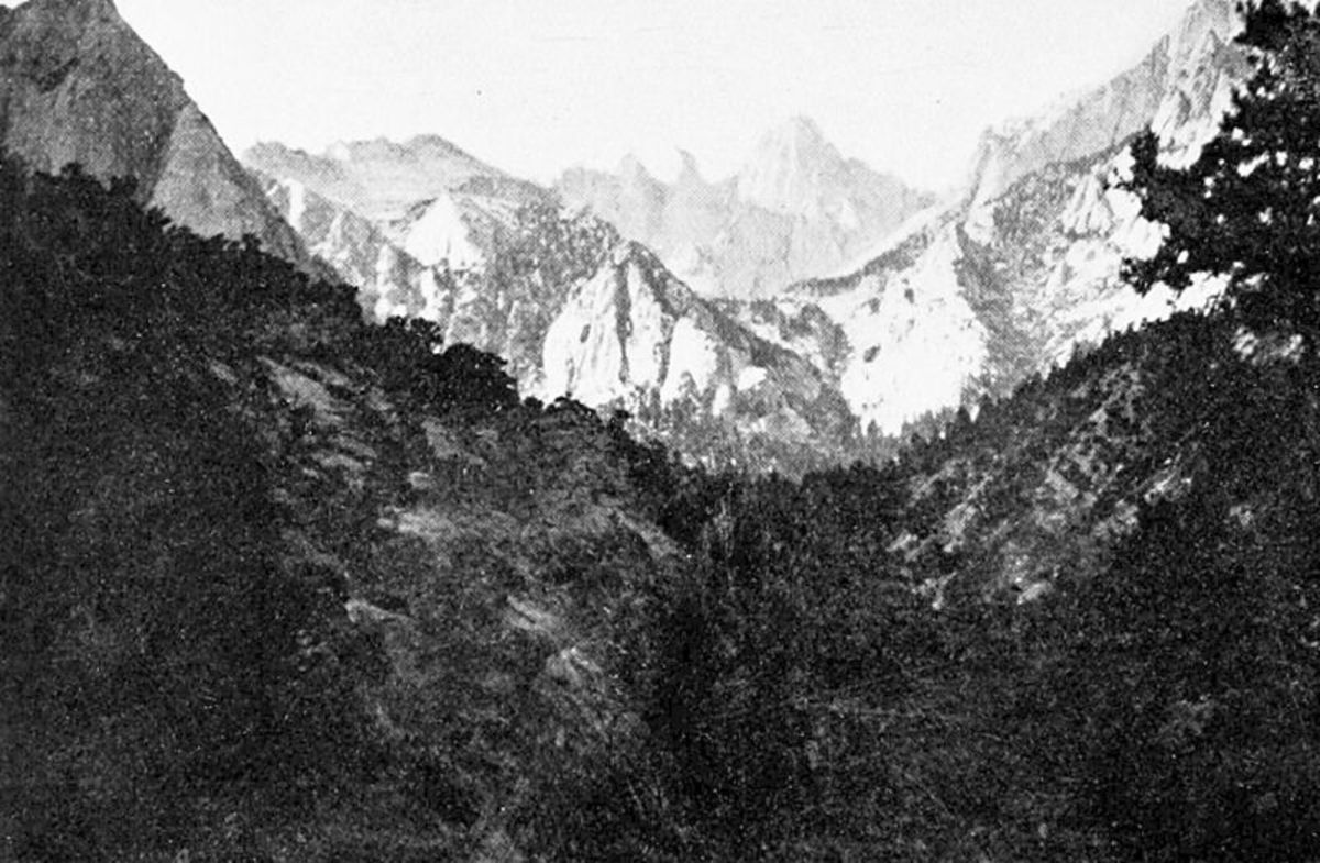 Mount Whitney as seen from Lone Pine Canyon; Langley made measurements from both locations.  Image courtesy Wikimedia Commons.