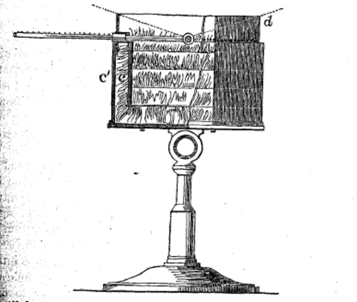 Pouillet's actinometer.  Point D is the thermometer; the swan's down insulation is indicated between the outer and inner containers in the cutaway drawing.