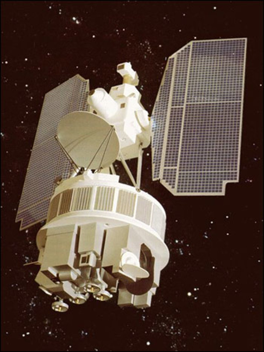 Artist's rendering of the general appearance of the NIMBUS series of satellites.  Image courtesy Wikimedia Commons.