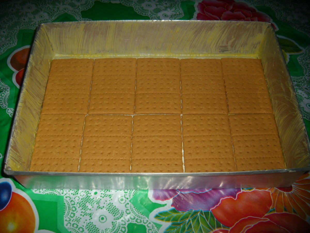 First layer:   Graham Crackers lined inside the baking form. Then brushed with cherry liqour.