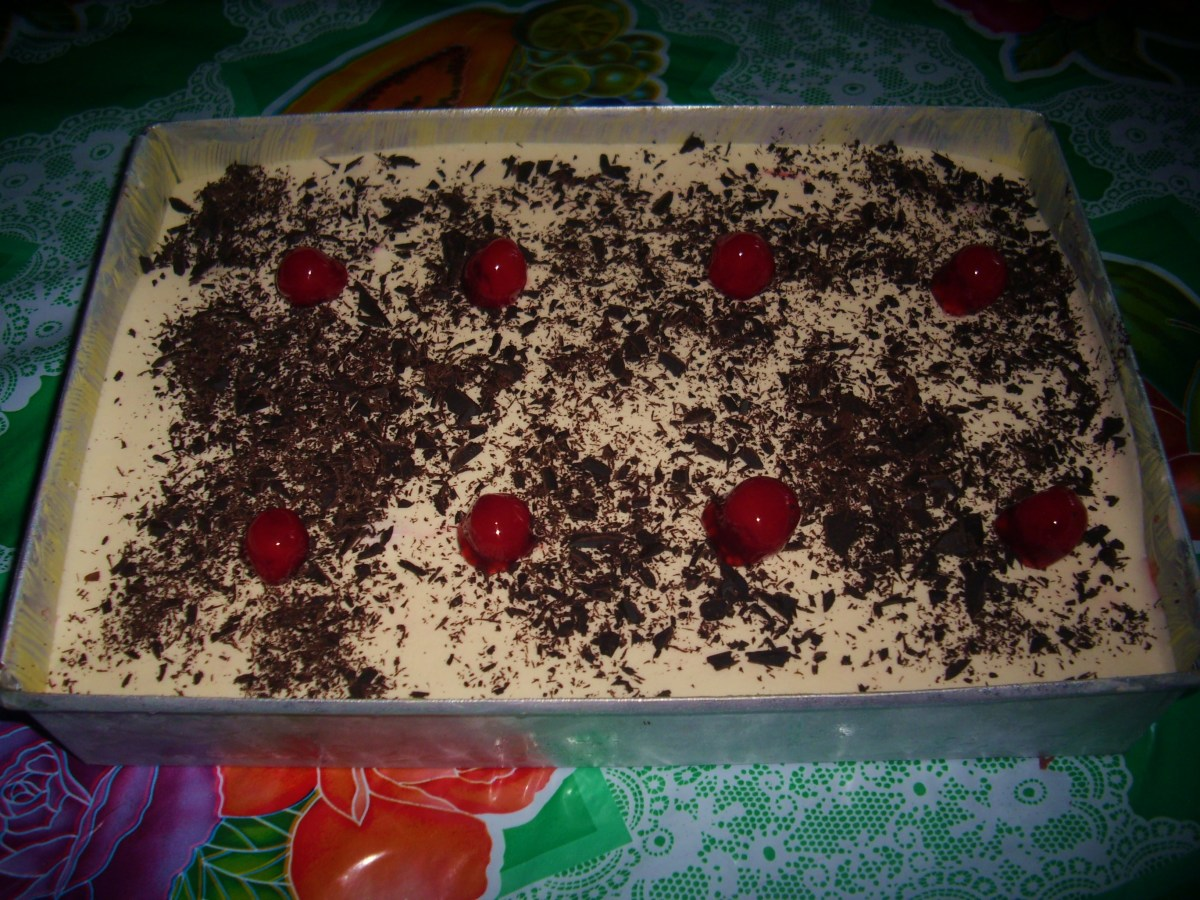 Decorated with grated chocolate and some cherries. Then freezed for at least 3 hours.