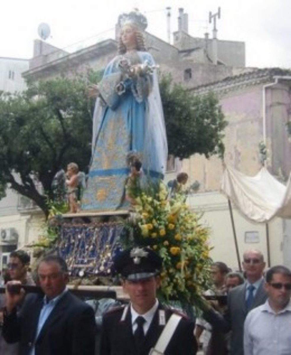 The Madonna in the religious Procession at Genzano, this feast take place once a year for three days at the beginning of August.