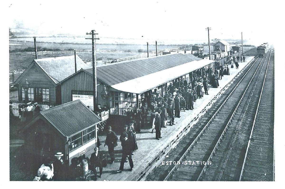 Another view looking the same way in more prosperous times before 1929. The train these people are waiting for arrives from Middlesbrough (beyond the platform end)
