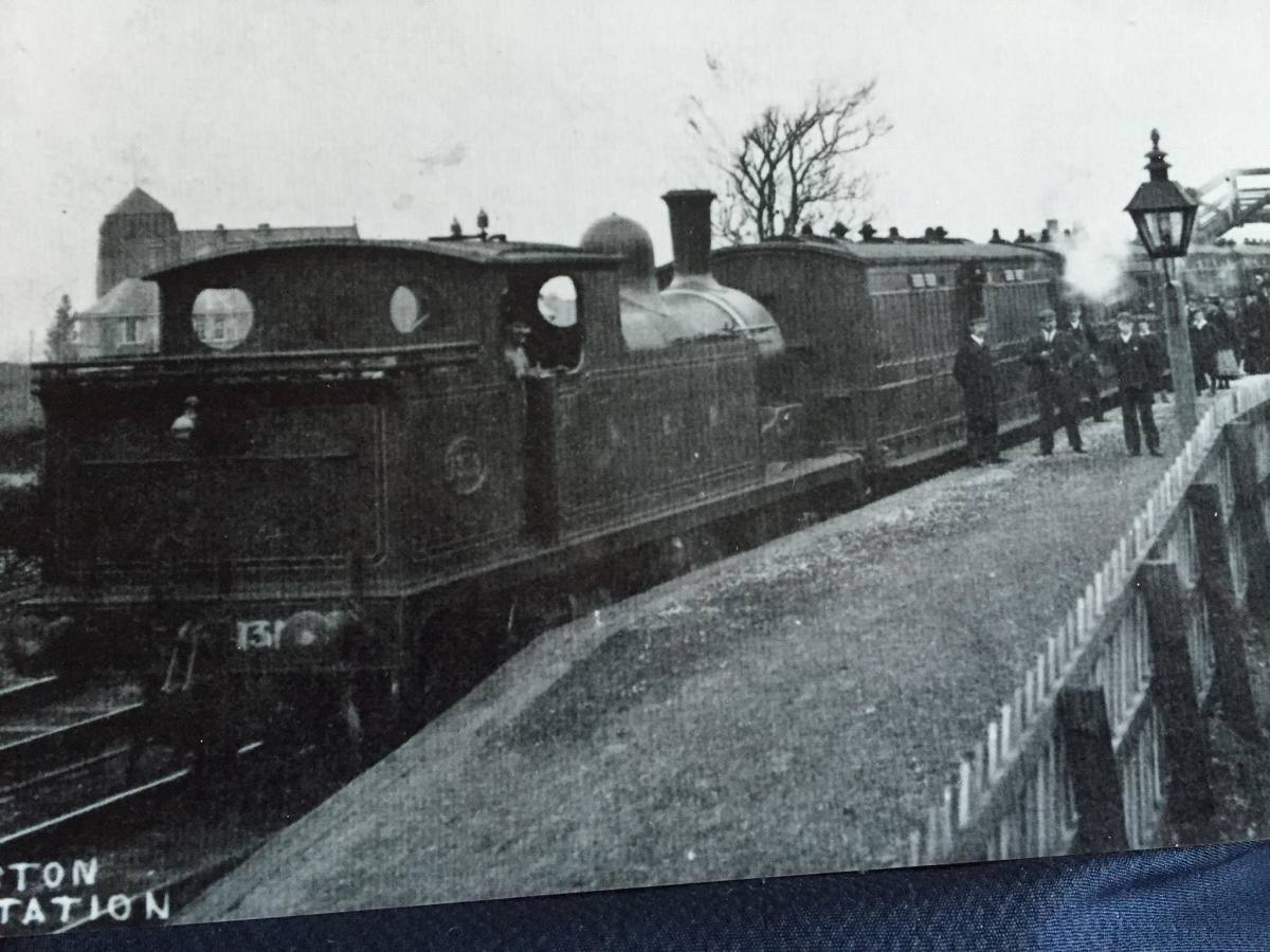 Eston Station seen early in 20th Century in North Eastern Railway days. A Class O 0-4-4 tank engine awaits the 'off' at the Normanby/Middlesbrough end of the platform. Class O was a successor to Fletcher's Bogie Tank Passenger (BTP) loco