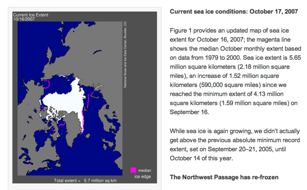 October 2007 Arctic Sea Ice report, NSIDC.