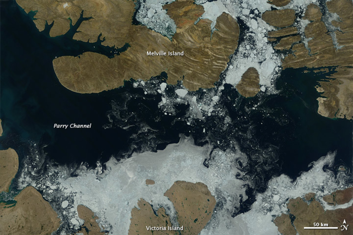 A portion of the Northwest Passage opens up, August 3, 2012.  Image courtesy NASA.