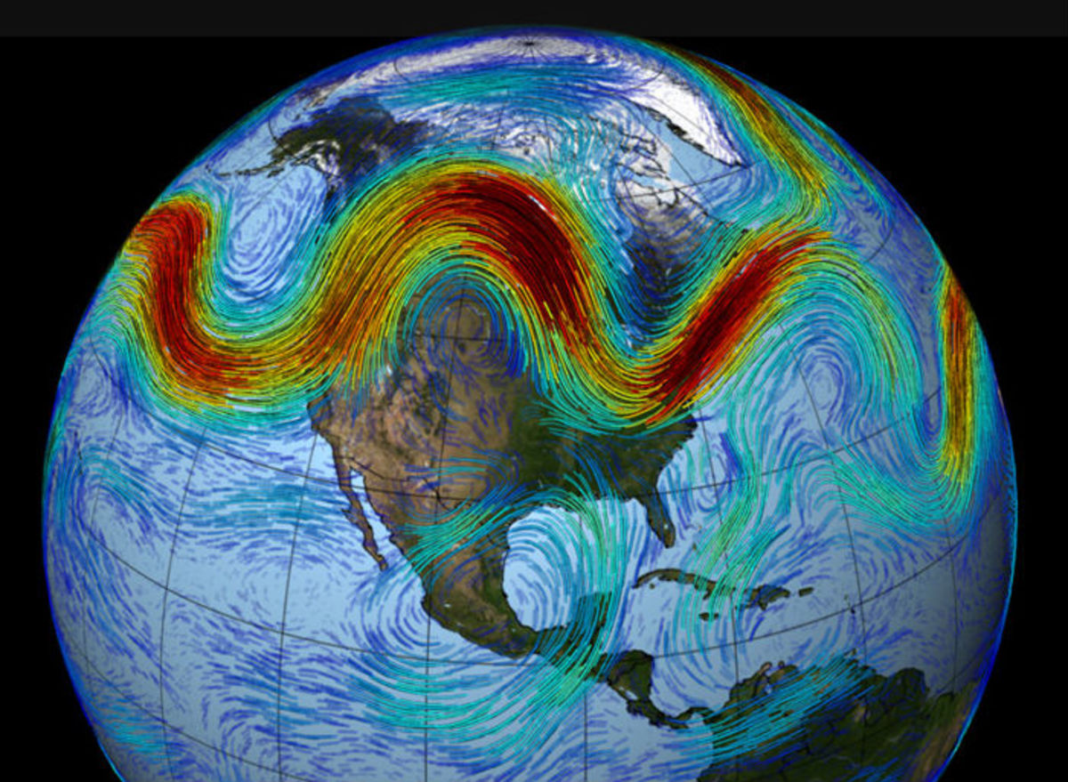 The meandering jet stream.  Image courtesy NASA.