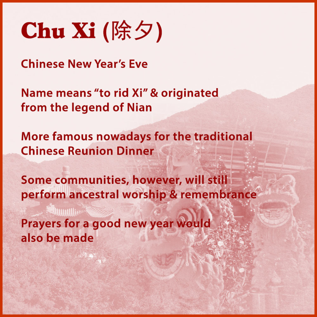 Chu Xi is the formal name for Chinese New Year's Eve.