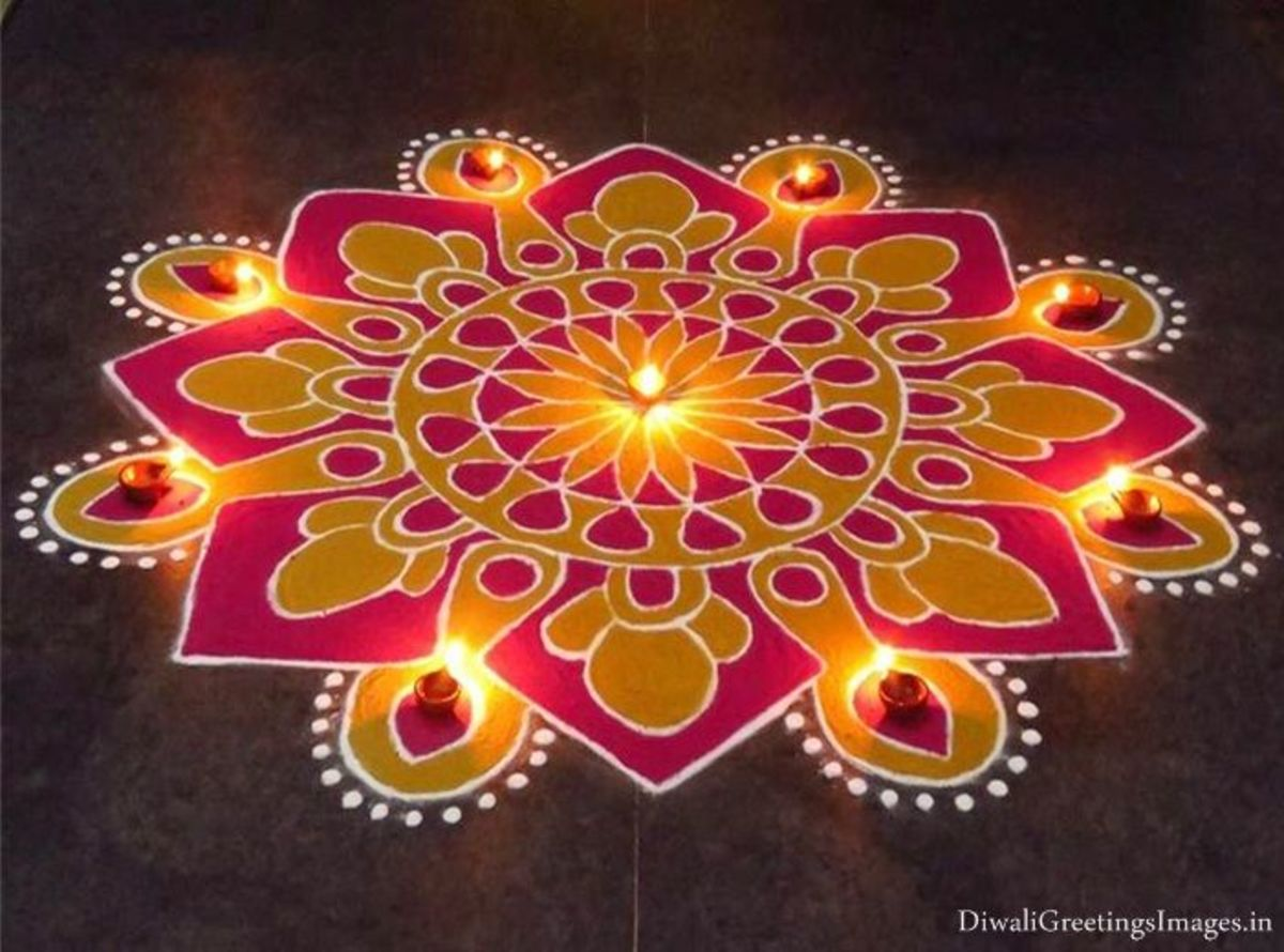 In every house, a Rangoli is made at the entrance.