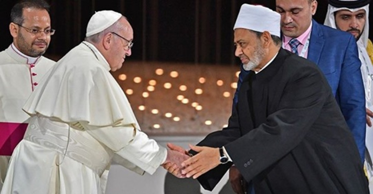 Pope Francis shaking hand with the grand imam of al-Azhar. Perhaps they want to start a new way of fraternity between religions and nations.