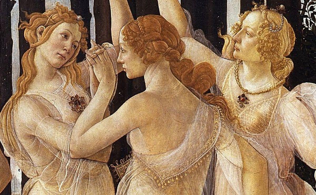 Three Graces in Primavera - Sandro Botticelli (1445–1510) - PD-art-100
