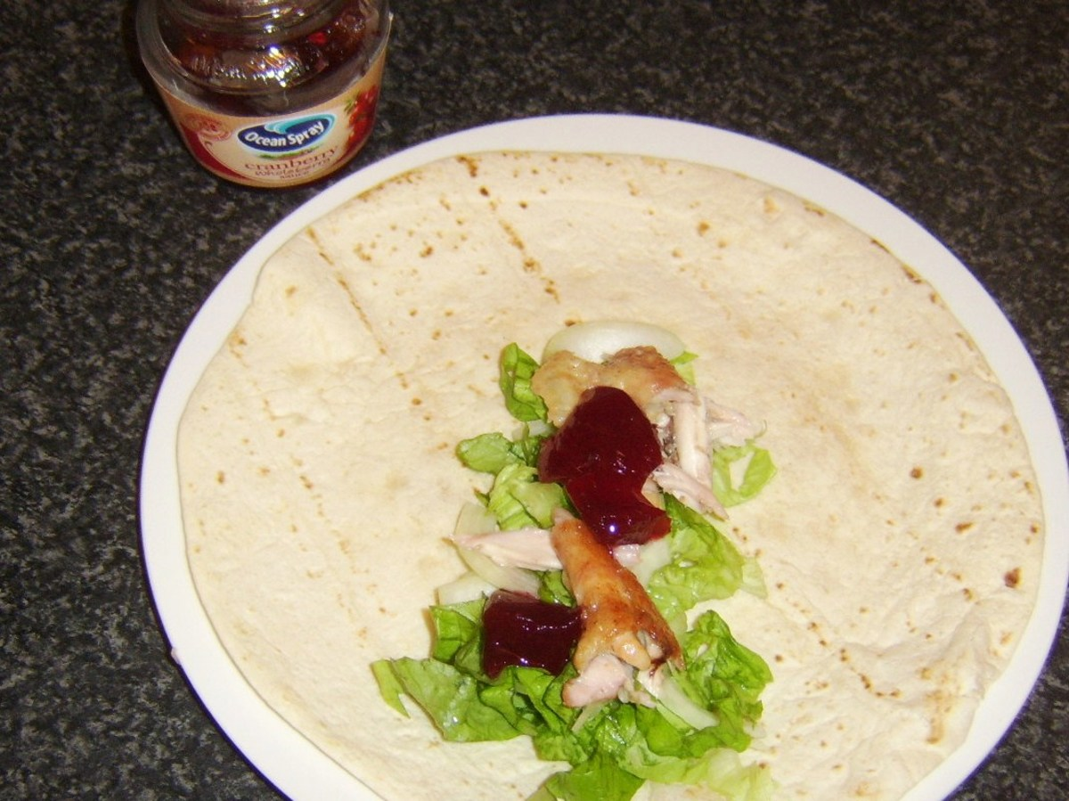 Cranberry sauce is added to chicken and salad