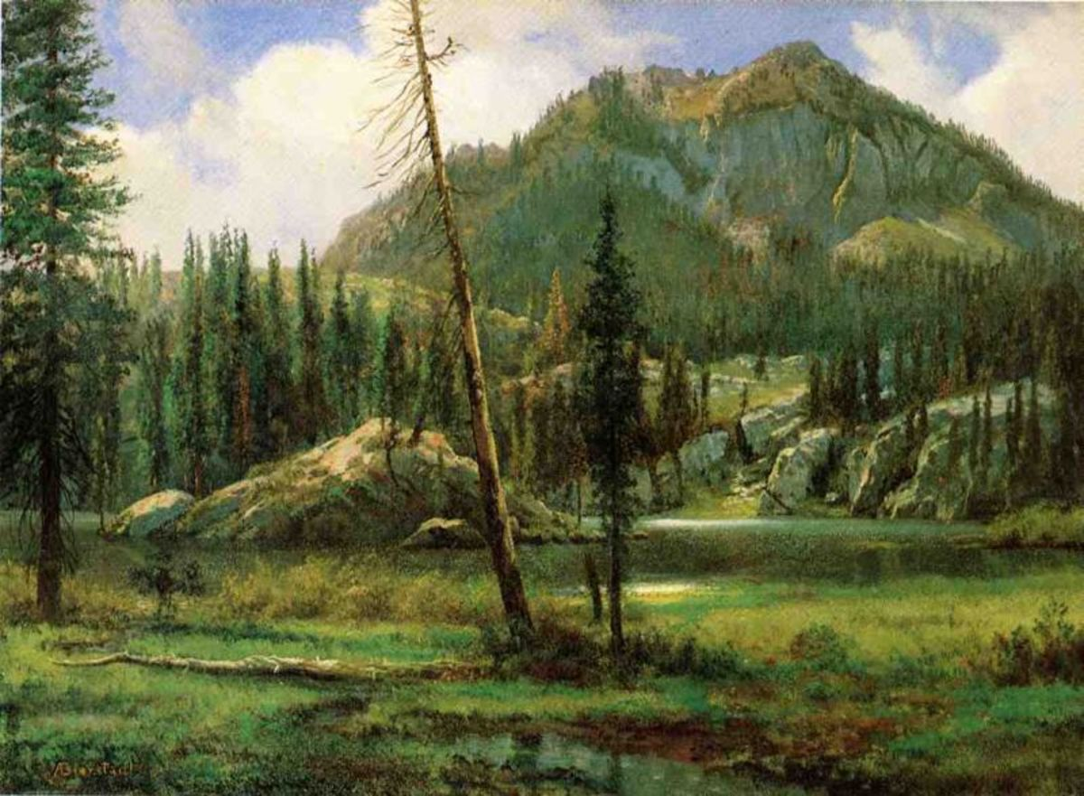 Sierra Nevada Mountains Painted by Albert Bierstadt about a hundred years before we visited. The trees are bigger, now. :)