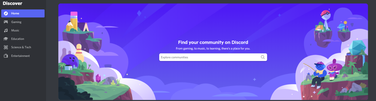 Discord's Discover feature, where you can find new servers to join!