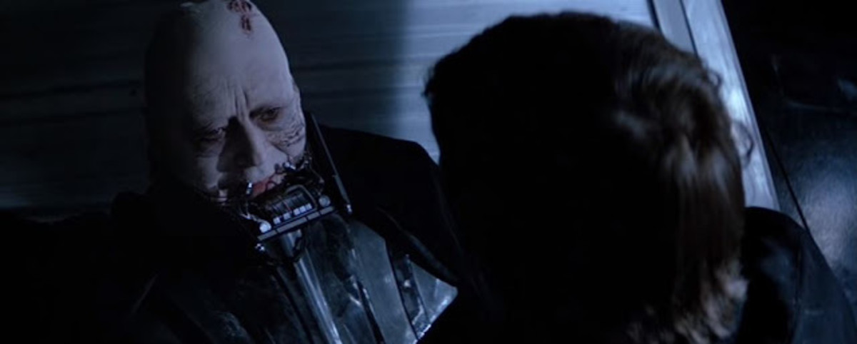 Anakin and Luke Skywalker share a poignant moment right after Vader's redemption