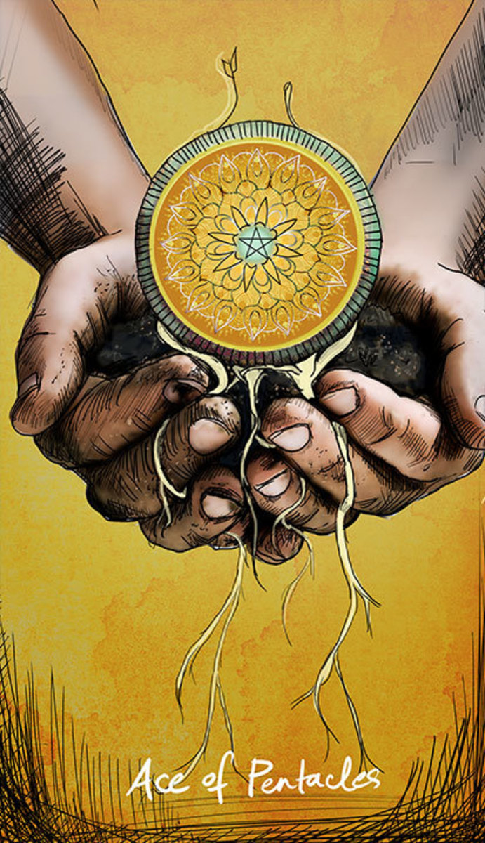 The Ace of Pentacles begins the suit associated with the earth element. It focuses on wealth, health, and longevity.