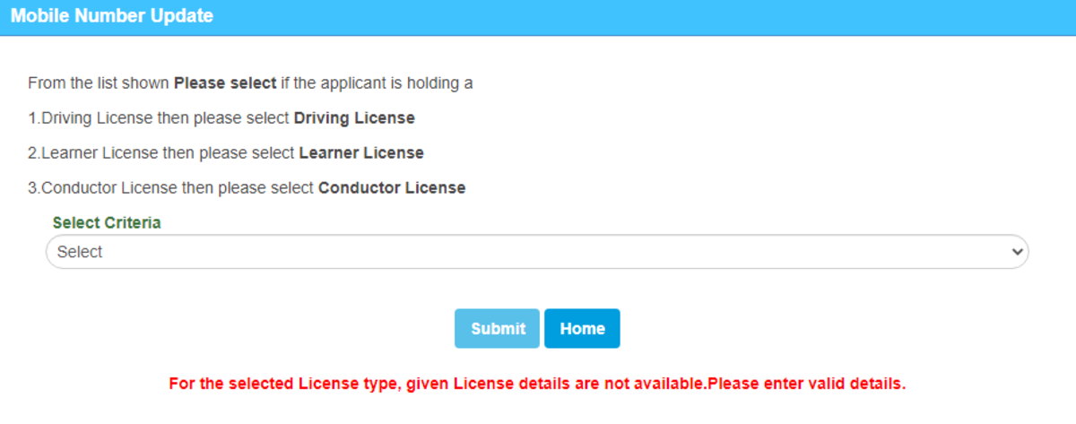 Driving License Details Not Found