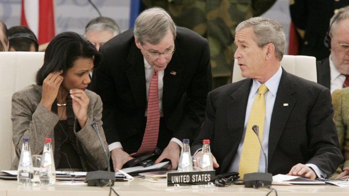 U.S. Secretary of State Condoleezza Rice, U.S. National Security Adviser Stephen Hadley, and President George W. Bush at the NATO summit.