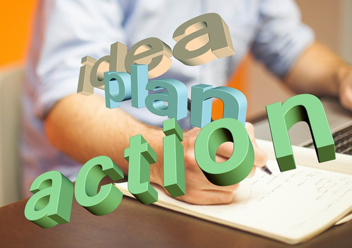 A photo showing the words idea, plan, and action.