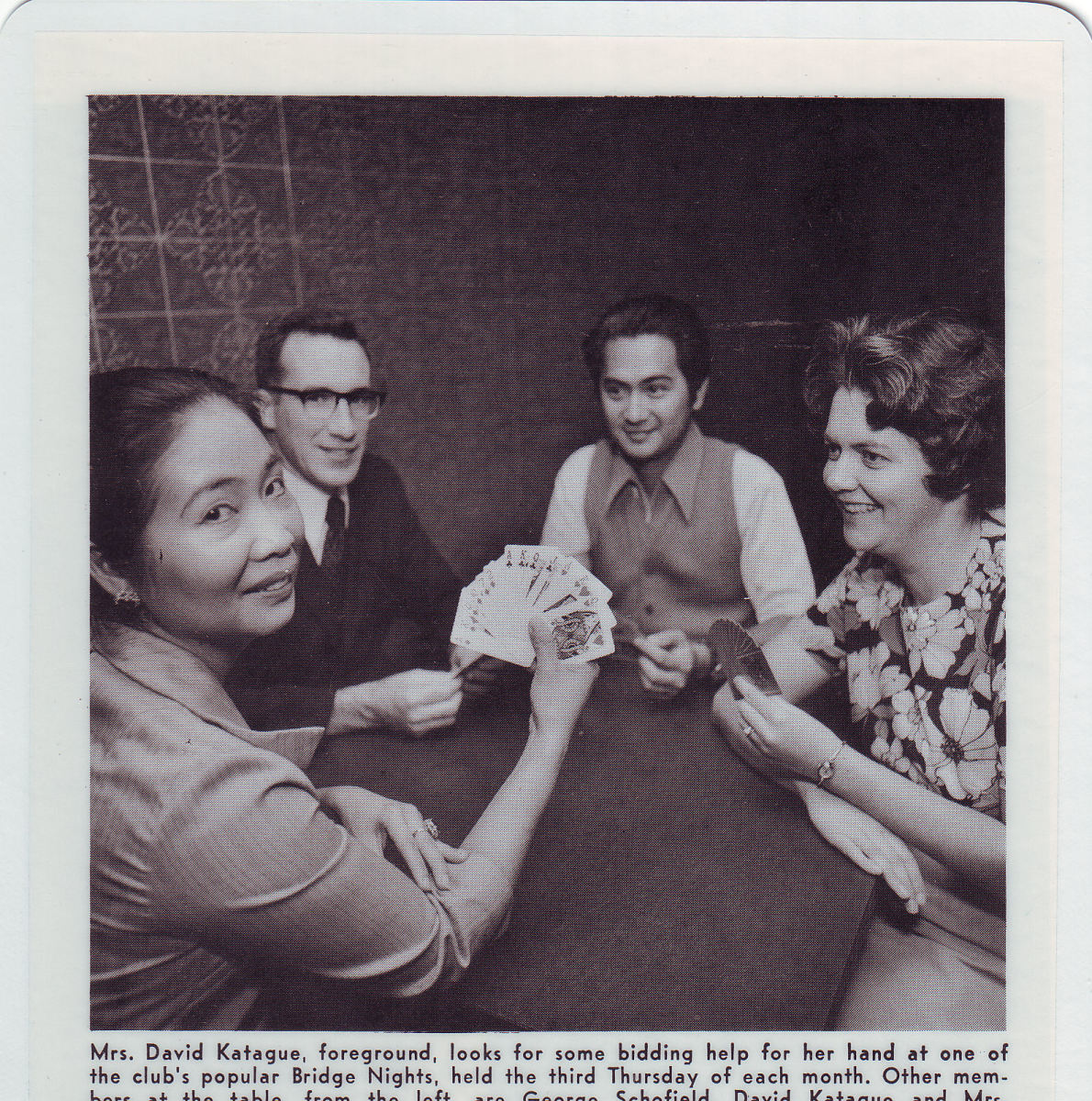 Macrine and I playing with Dr and Mrs Levine, Sportmen Club of Stanilaus County (SOS), Modesto, California, 1972
