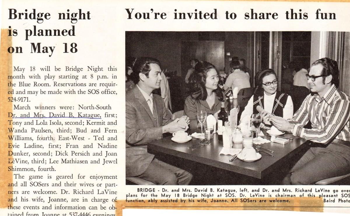Party Bridge that My Wife and I enjoyed, 1972