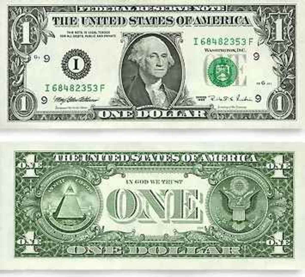 USD $1.00 bill Face and Back