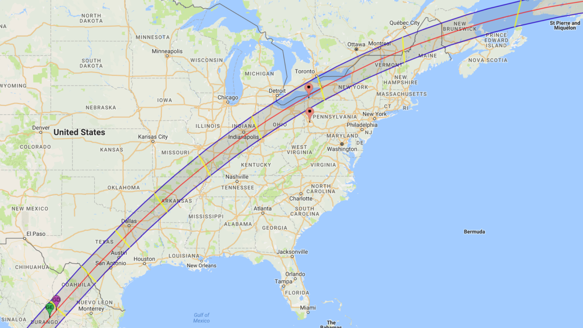 The 2024 eclipse's shadow path travels from Mazatlan, Mexico to the Canadian maritime provinces.