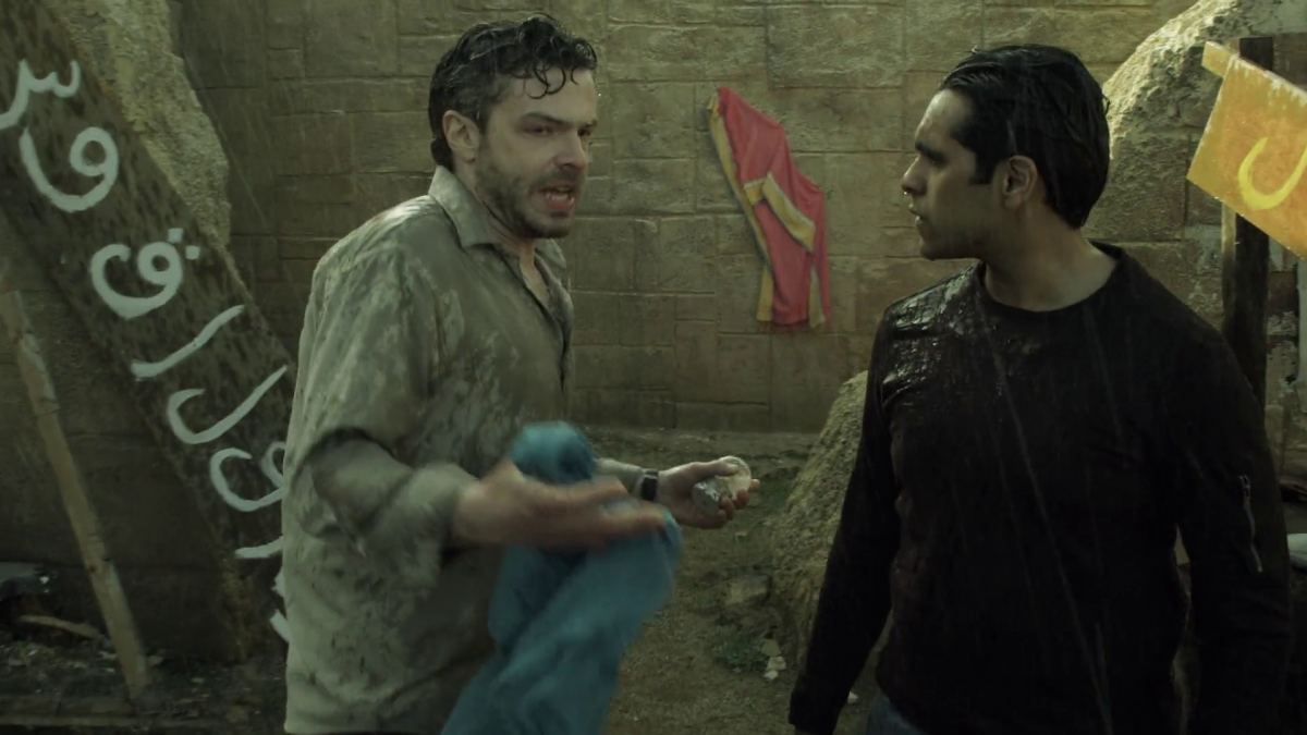 Jack Jones (Barton Bund) begs Tariq (Owais Ahmed) to help him get his family out of an earthquake rattled Cairo before it snows