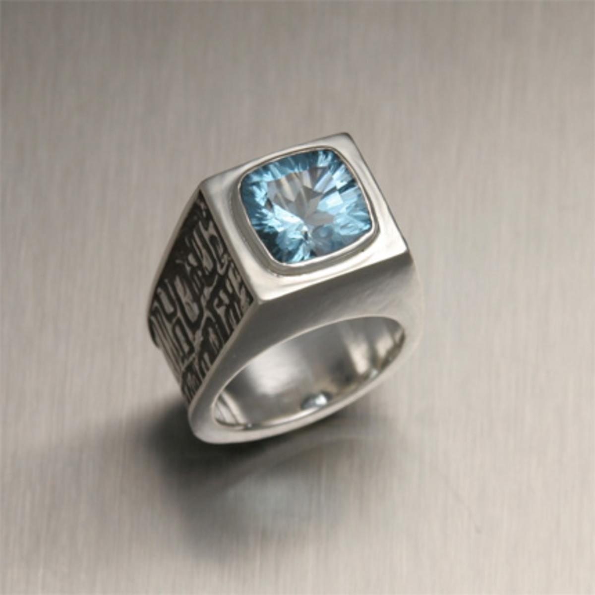 Blue Topaz Hand Fabricated Men's Ring
