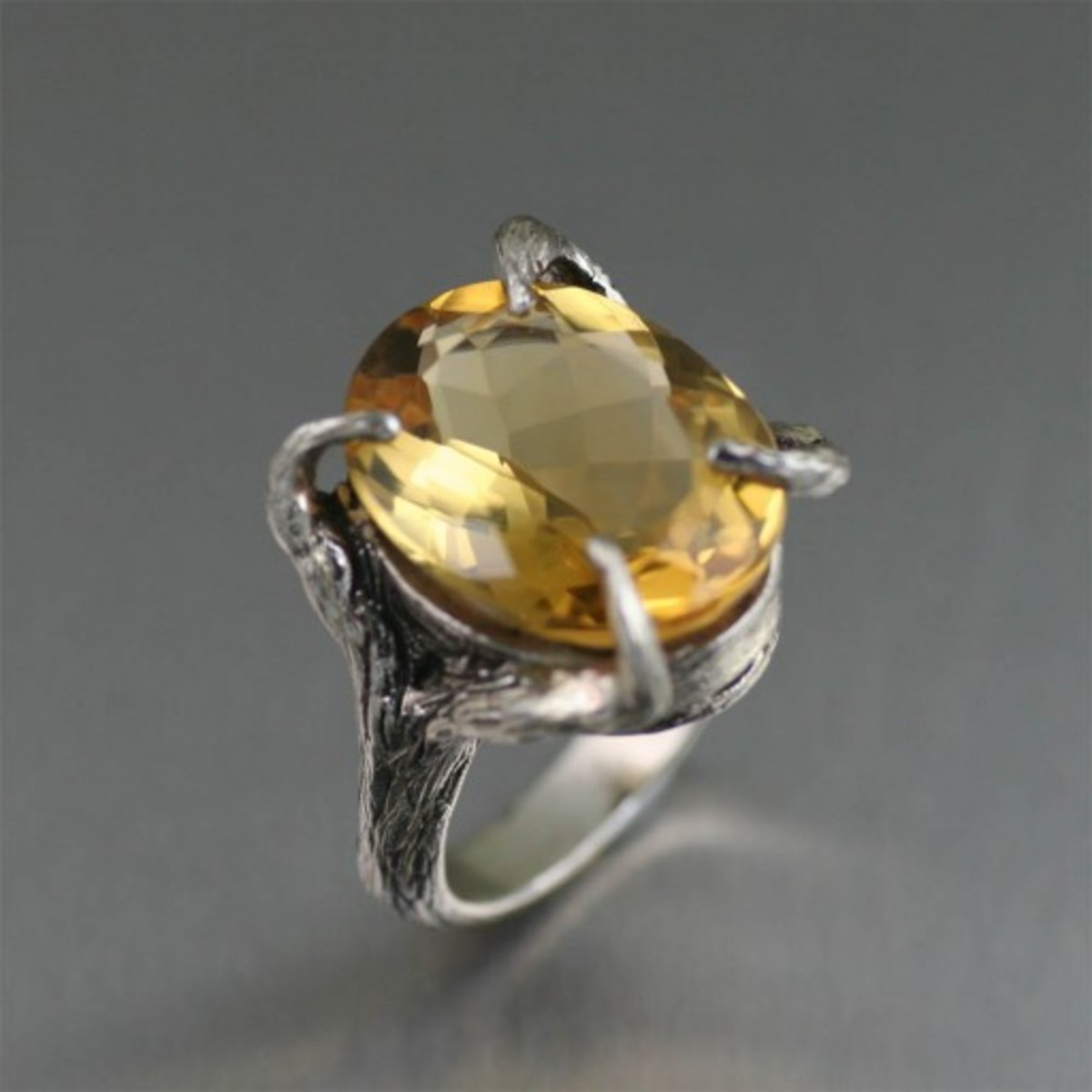 13 ct Cushion Cut Citrine Sterling Silver Cocktail Ring