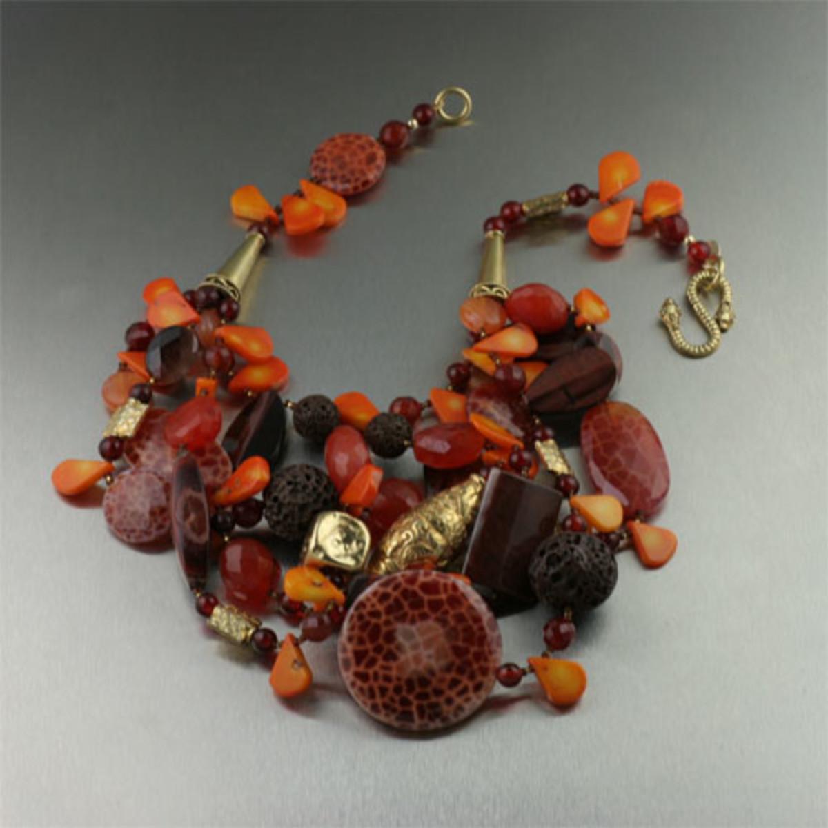Brazilian Fire Agate Orange Coral Vermeil Necklace