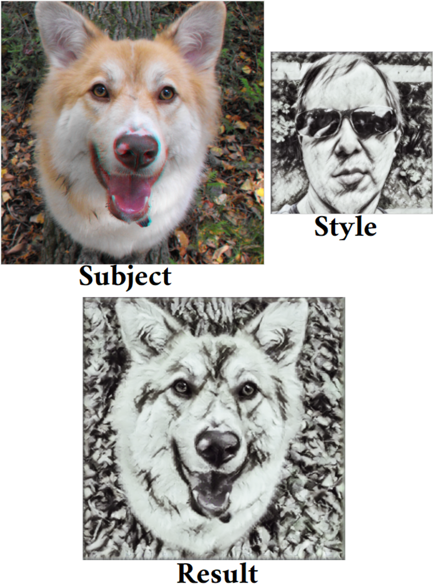 Photo to sketch. My dog plus a sketch of me equals a sketch of my dog.