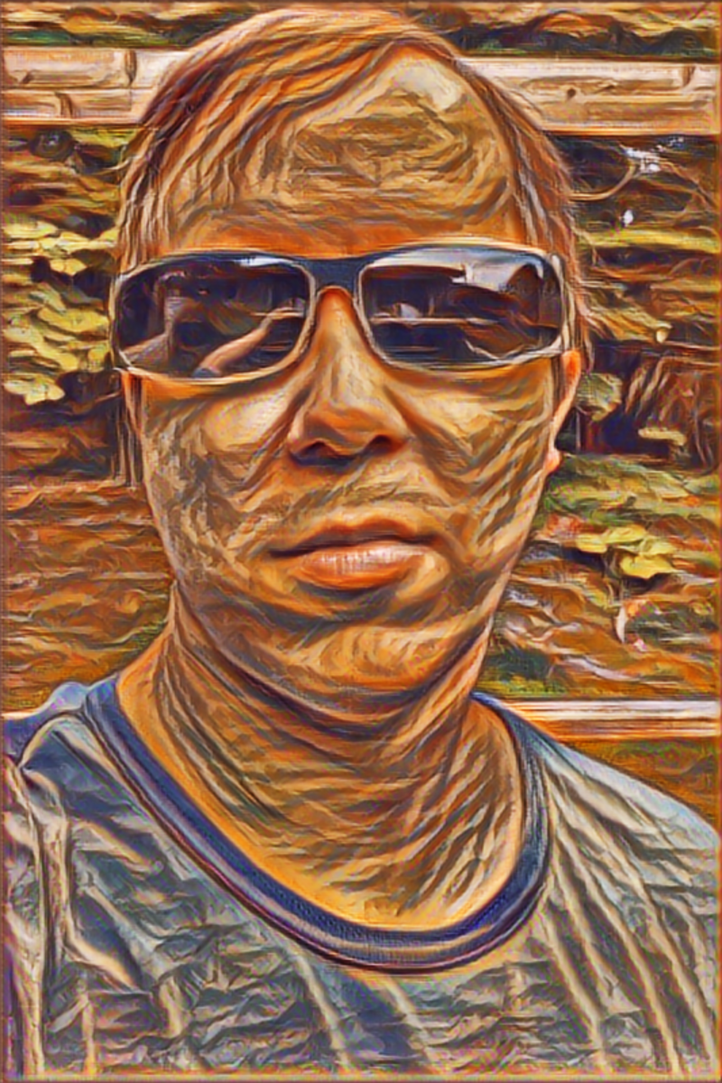 Photo to digital art in the style of The Scream painting.