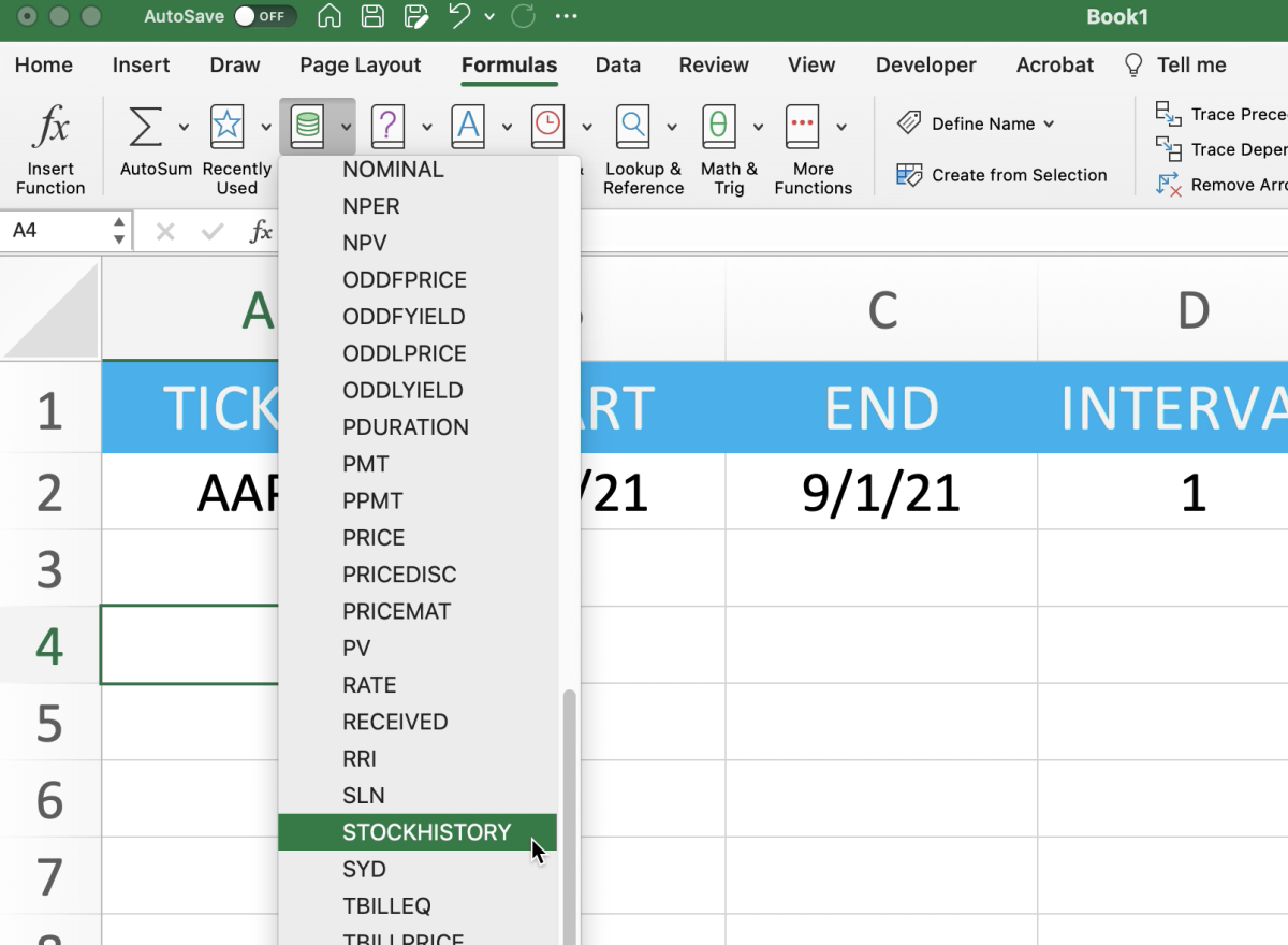 The illustration shows how to navigate through the Excel ribbon to insert the STOCKHISTORY function.
