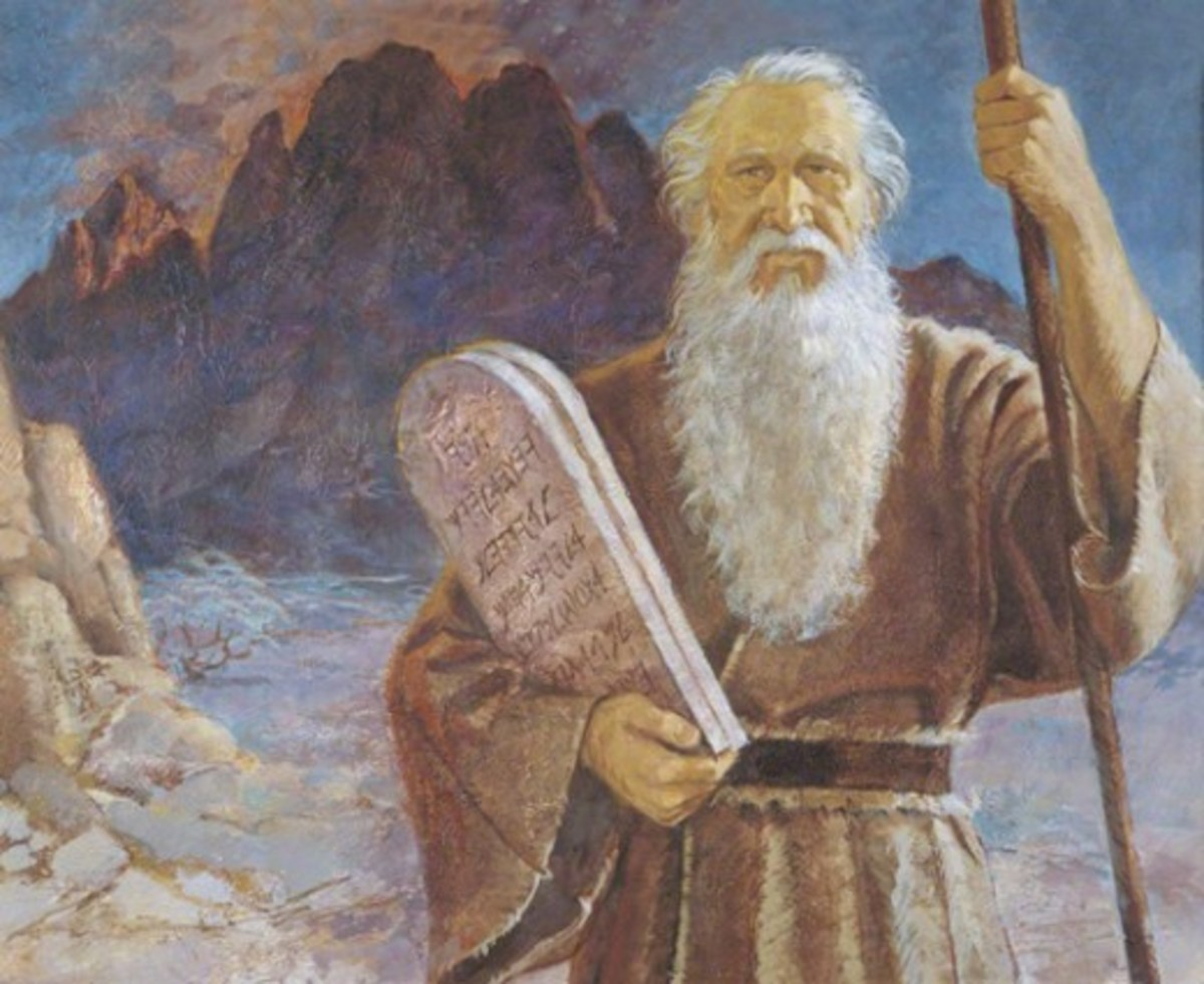 Moses on Mount Sinai received from God Yahweh The Ten Commandments, but he stayed too long, so, the Israelite started to rebel.