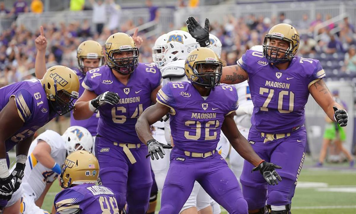 James Madison University, a member of the Colonial Athletic Association, a smaller Conference in Division 1.