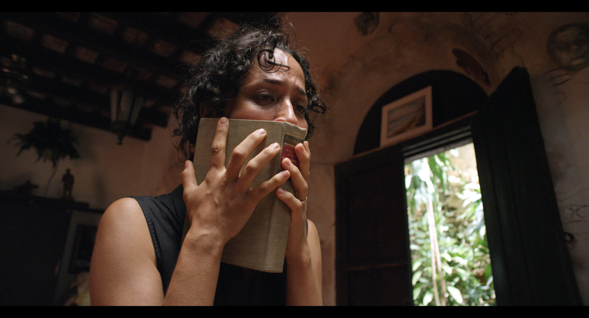 "Book snorting at its finest. Aris Mejias as Soraya in ""The Vessel."""