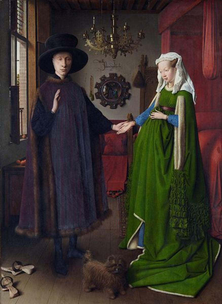 """The Marriage of Giovanni Arnolfini and Giovanna Cenami"" (1434) by Jan van Eyck  is in the public domain in the United States, and those countries with a copyright term of life of the author plus 100 years or less."