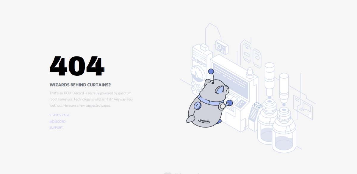 This is Discord's 404 page which appears when a requested page can't be found.