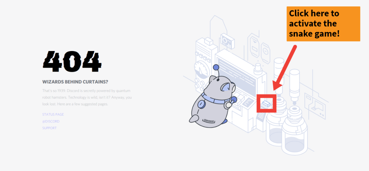 Once you're on the 404 page, simply click the button beside the Robo-Hamster as shown in the screenshot.