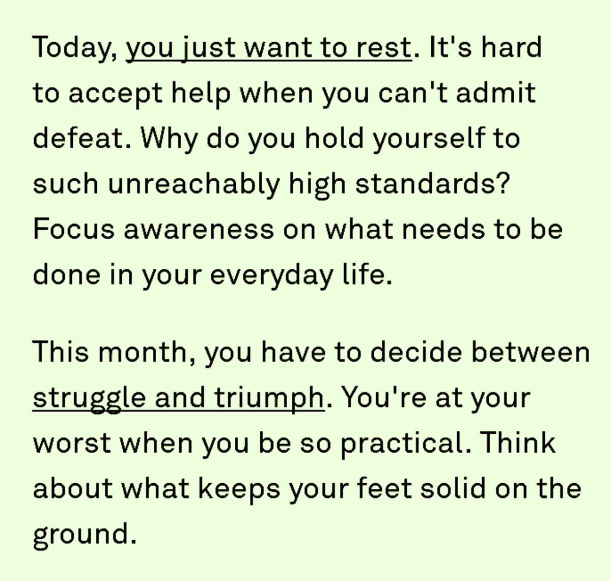 """A screenshot sample of daily Co-Star advice. Daily """"push notices"""" are much shorter and more like affirmations."""