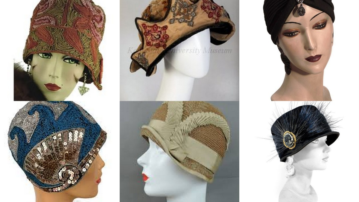 Turbans, toques, and cloches were better suited for shorter hair, slim lines, and  the high collars and wraps of the 1920s.