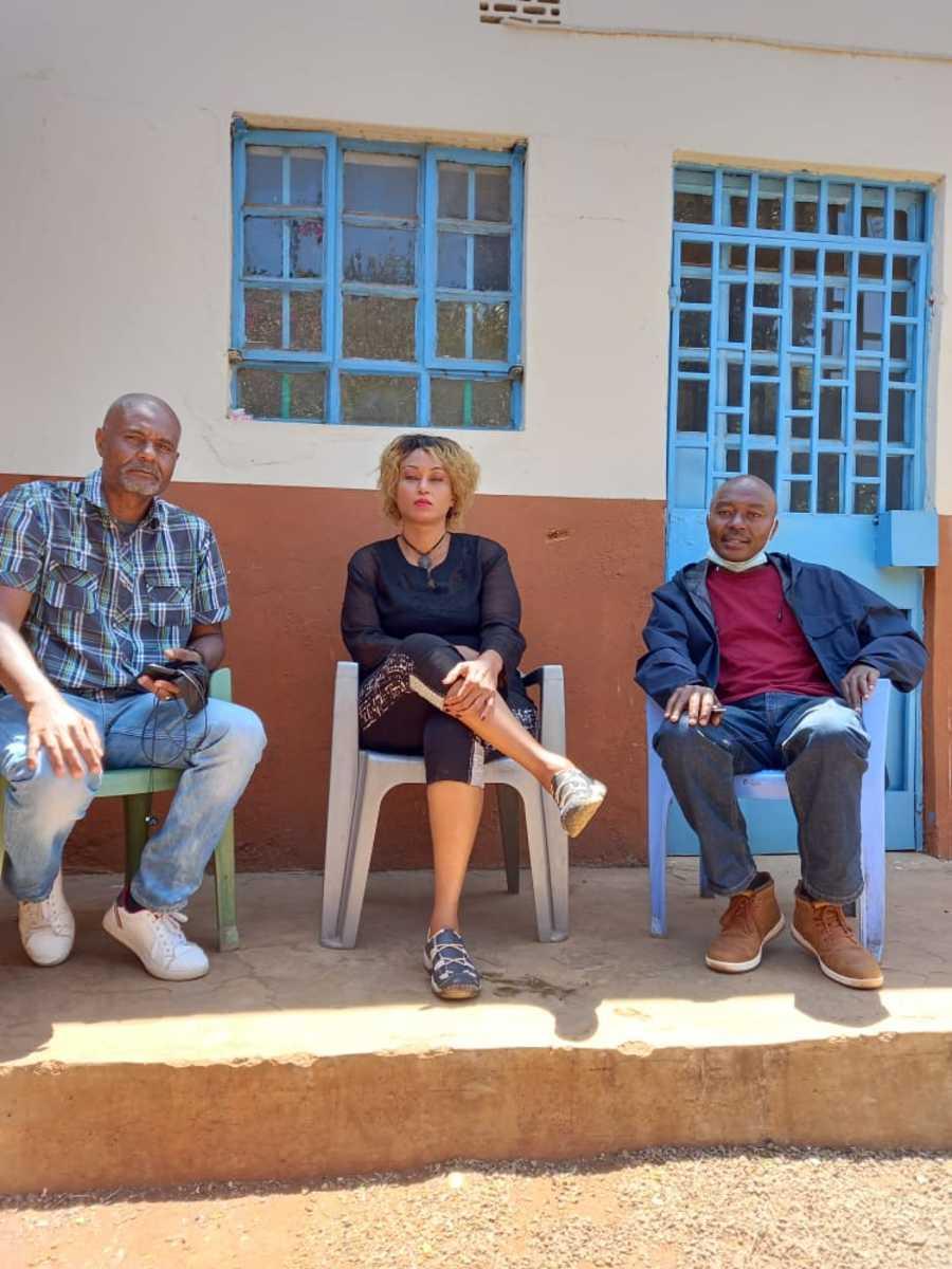 Raymond Muhia Wood's Grand Children from left, Ken Ambassador Wood, Isabella Wanjiru Wood and Raymond Wood Junior