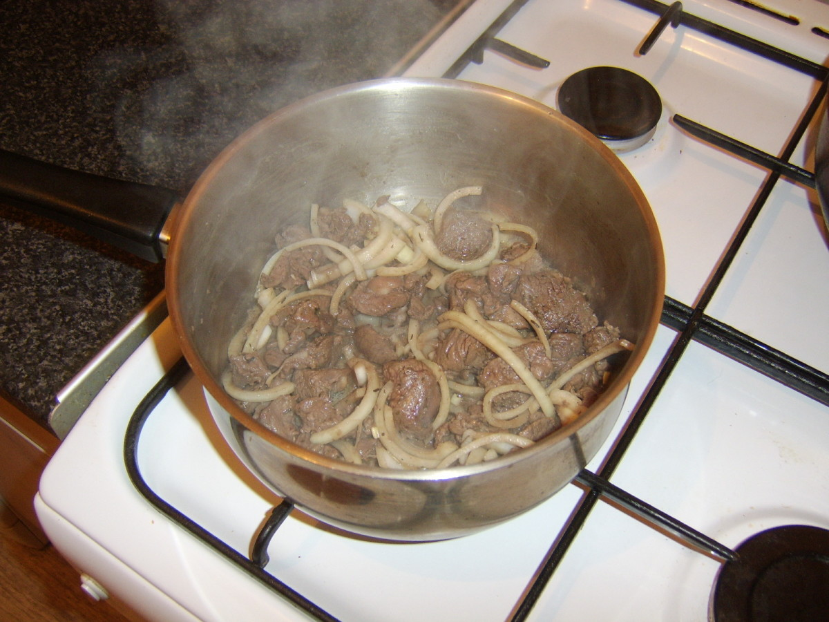 Browned venison and sliced onion