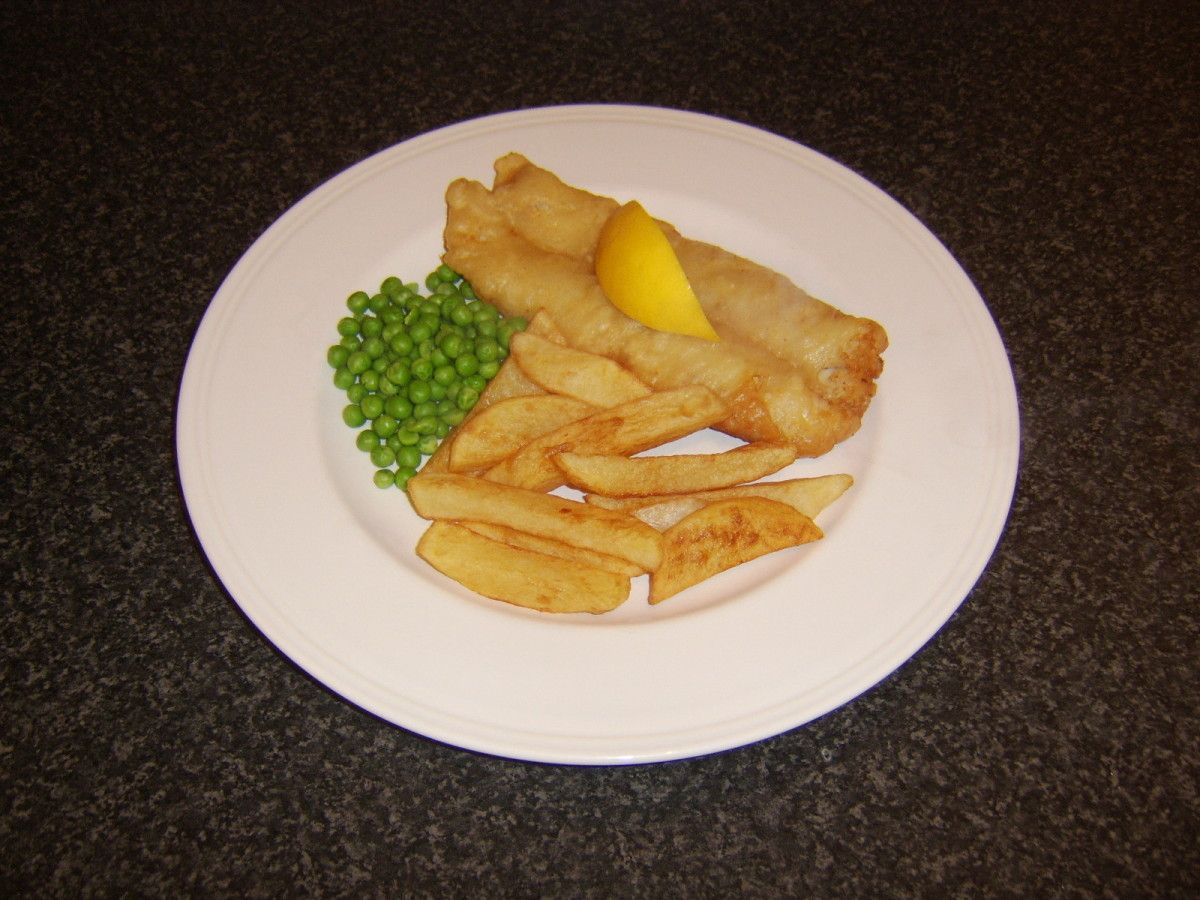 Whiting is the fish served in this instance instead of the traditional cod or haddock, along with freshly prepared chips and peas