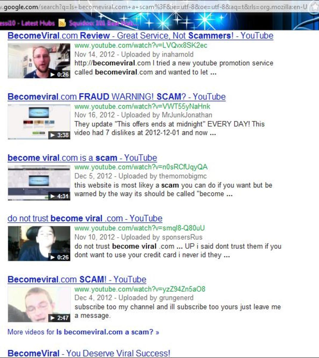 "A screen shot of Google search results of ""Is becomeviral.com a scam?"""