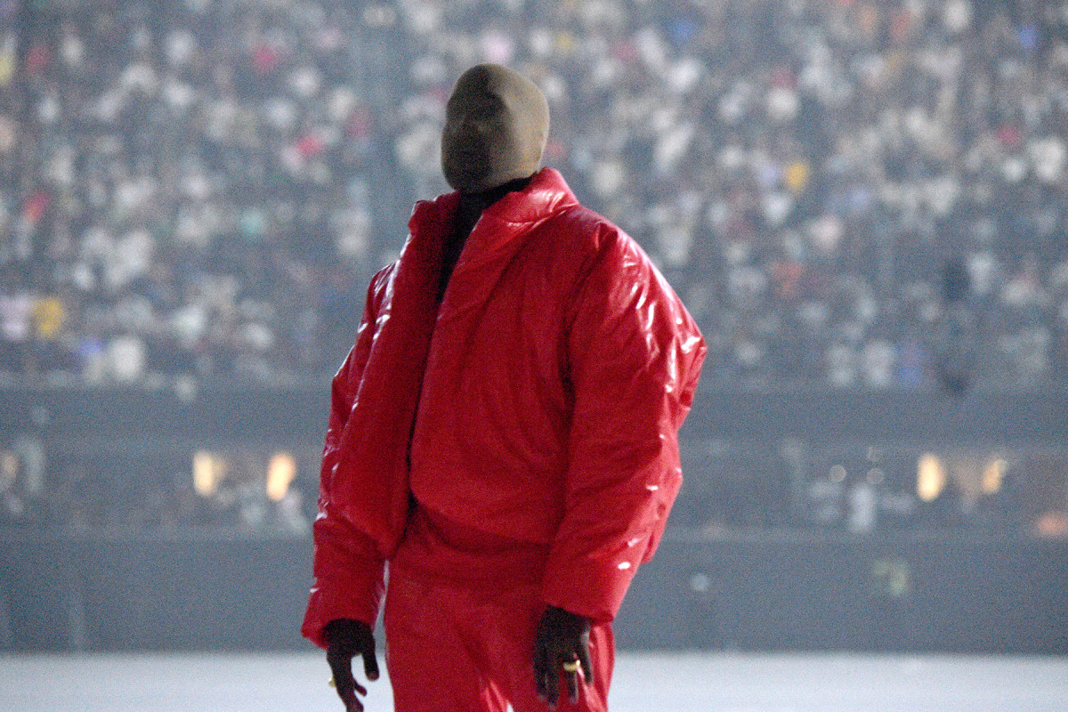 Kanye West at his first public listening party in the Mercedes Benz Stadium.