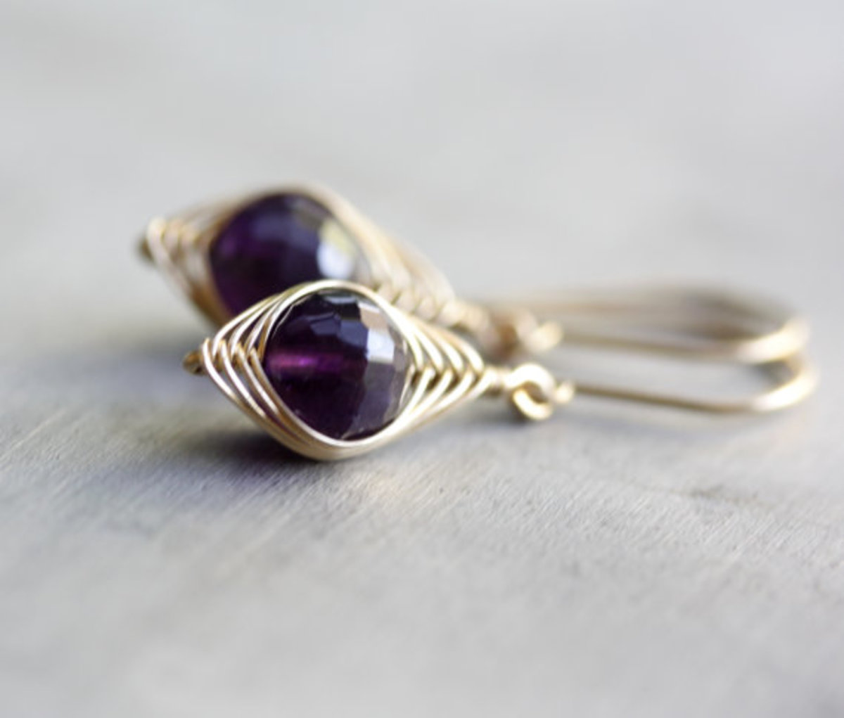 Purple Amethyst round bead - herringbone wrapped earrings
