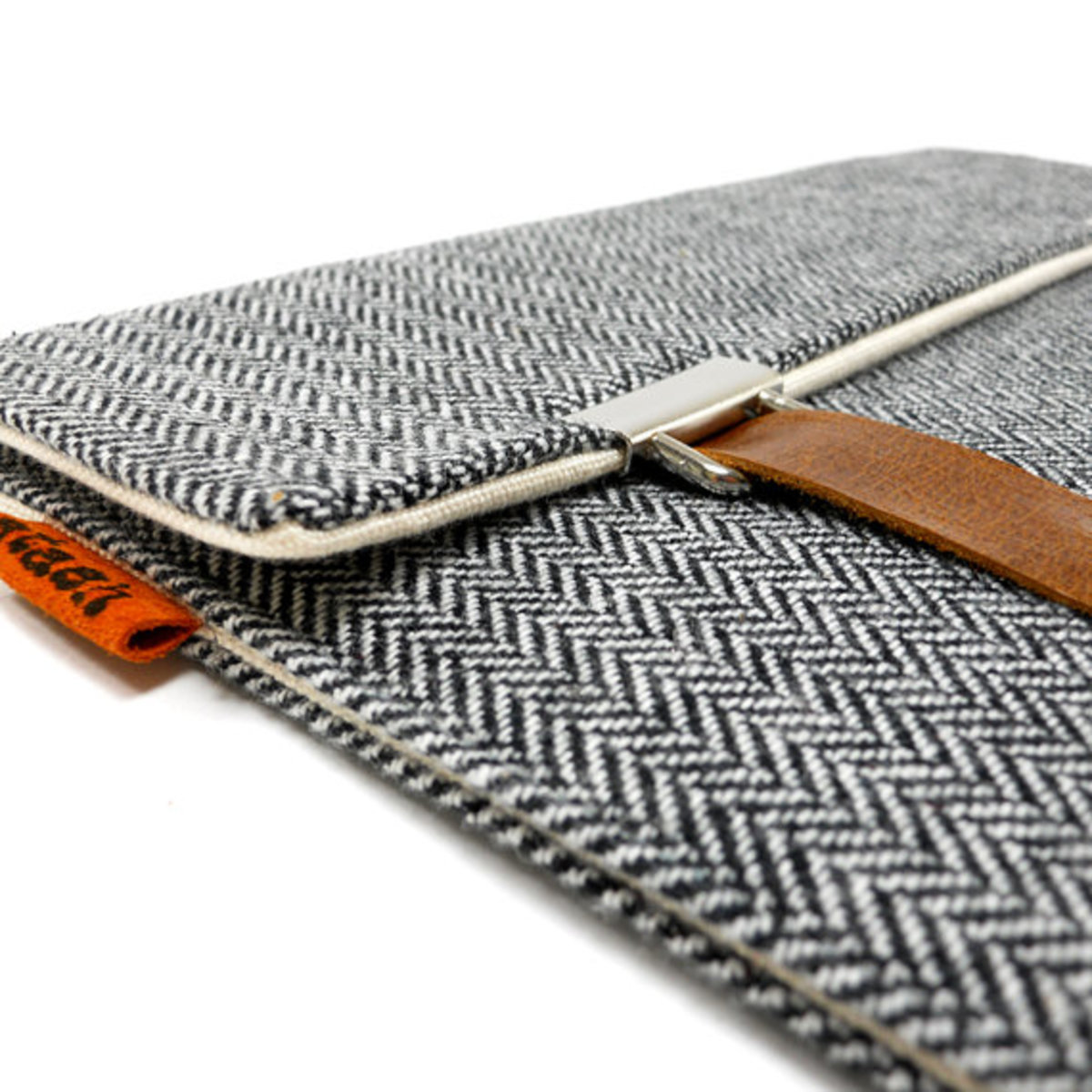 iPad case - gray herringbone